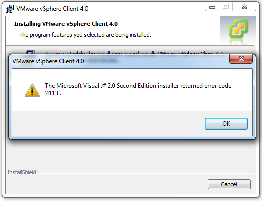 The Microsoft Visual J# 2.0 Second Edition installer returned error code '4113'