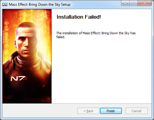 The installation of Mass Effect: Bring Down the Sky has failed.