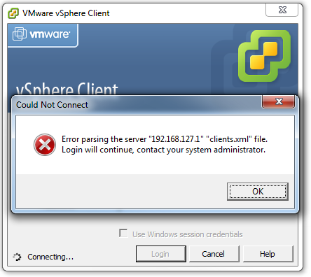 "Error parsing the server ""<address>"" ""clients.xml"" file. Login will continue, contact your system administrator"