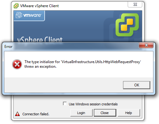 The type initializer for 'VirtualInfastructure.Utils.HttpWebRequestProxy' threw an exception.